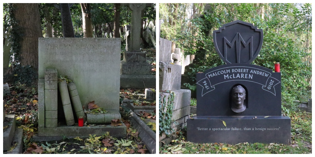 Jeremy Beadle and Malcolm McLaren at Highgate Cemetery - CrawCrafts Beasties