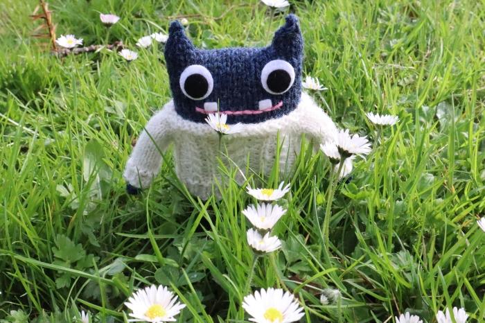 Aran Beastie with Daisies - CrawCrafts Beasties