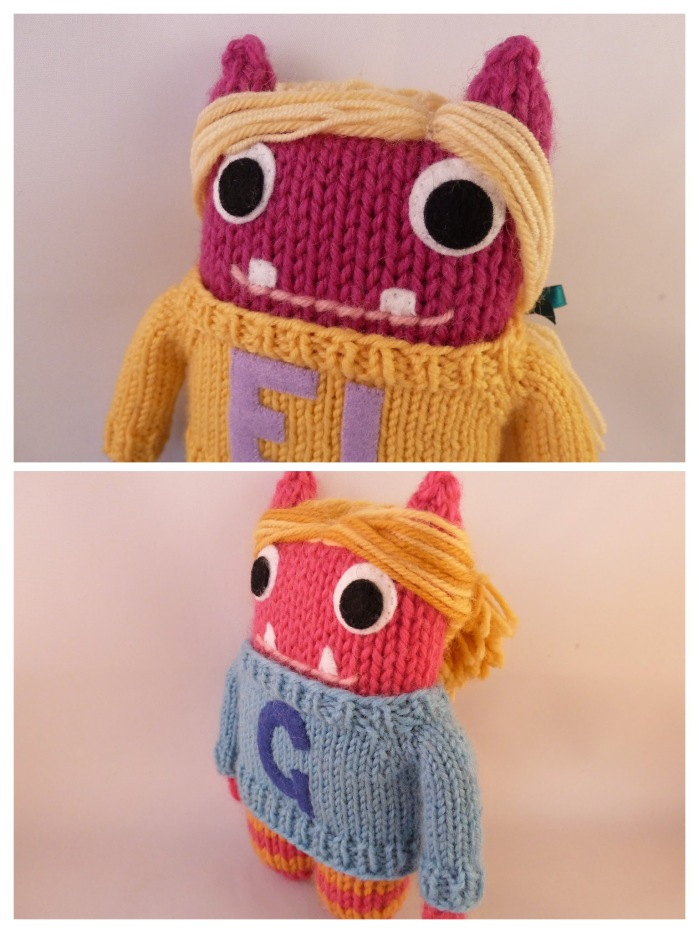 Eva Lily and Georgia - Personalised Knitted Monsters by CrawCrafts Beasties