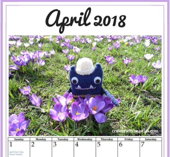 April Calendar Image - Free printable download from CrawCrafts Beasties