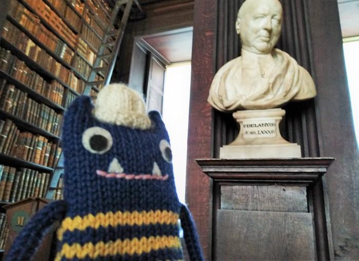 Explorer Beastie meets a Long Room Library Resident - CrawCrafts Beasties Beastie HQ