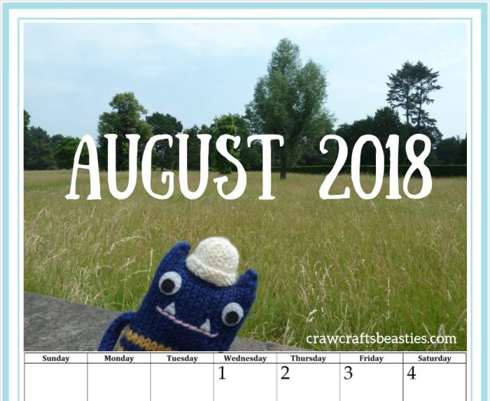 Calendar Page August - FREE Downloadable Calendar by CrawCrafts Beasties