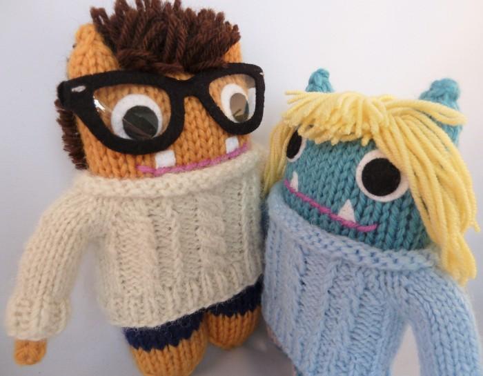 Tammie and Mr Husband Beasties in Aran Sweaters - CrawCrafts Beasties