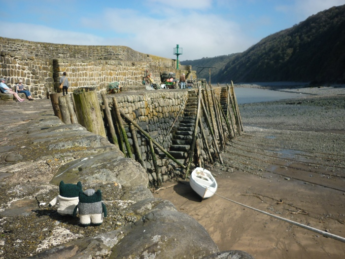 Paddy and Plunkett at Clovelly Harbour - H Crawford/CrawCrafts Beasties