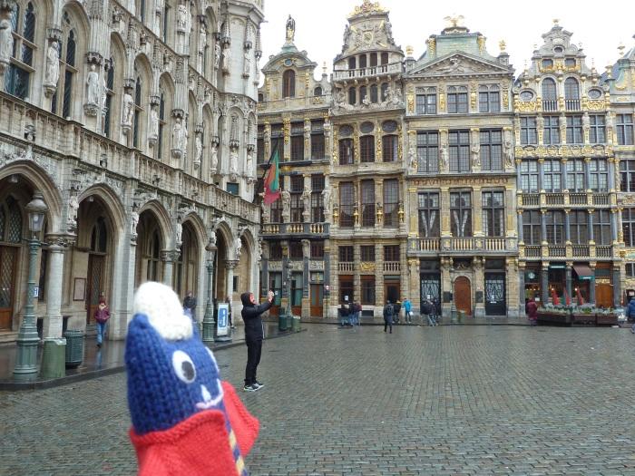 Explorer Beastie in the Grand Place, Brussels - CrawCrafts Beasties