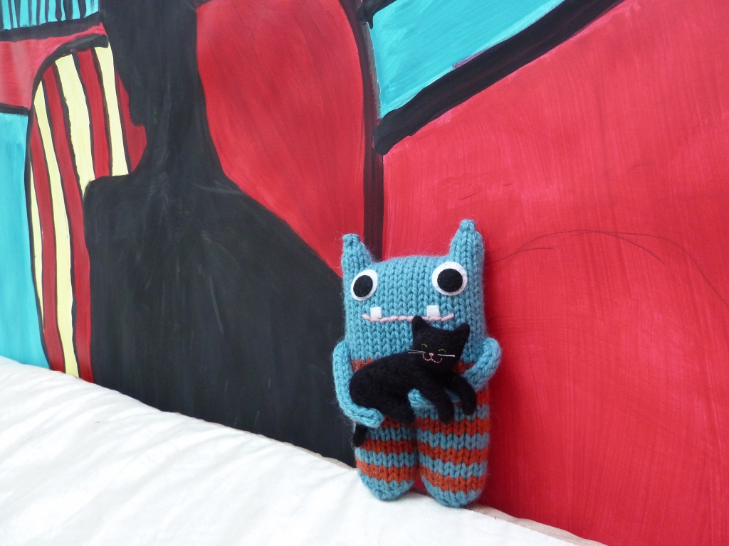 Blue and Orange Stripey Beastie with Kitty by CrawCrafts Beasties