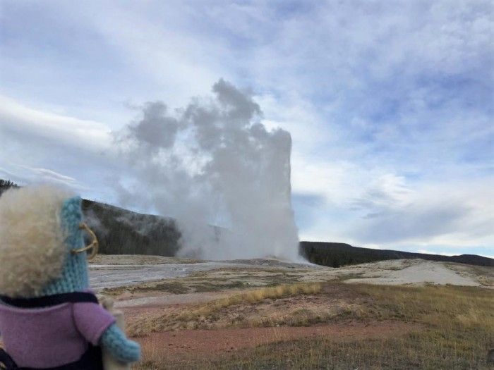 June Beastie at Old Faithful, Yellowstone - R Crawford/CrawCrafts Beasties