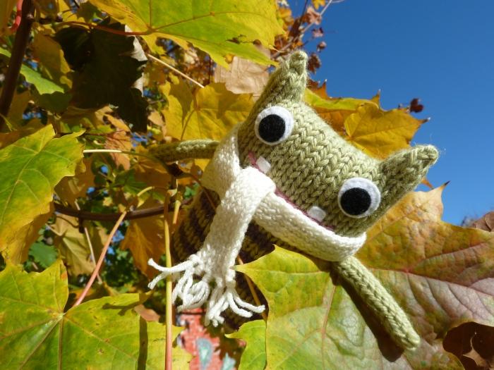 Cosy Scarf Beastie in the Tree - CrawCrafts Beasties