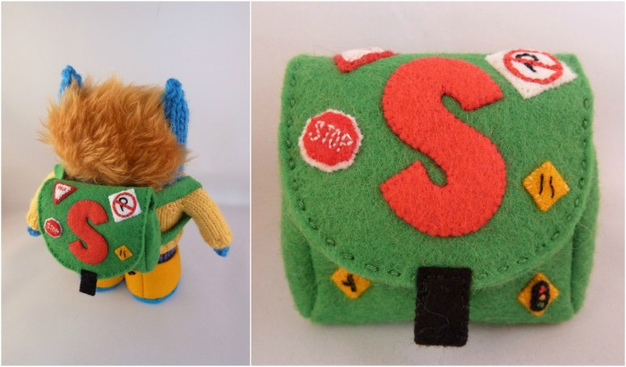 Road Sign Backpack, Embroidery and Appliqué on Felt by CrawCrafts Beasties