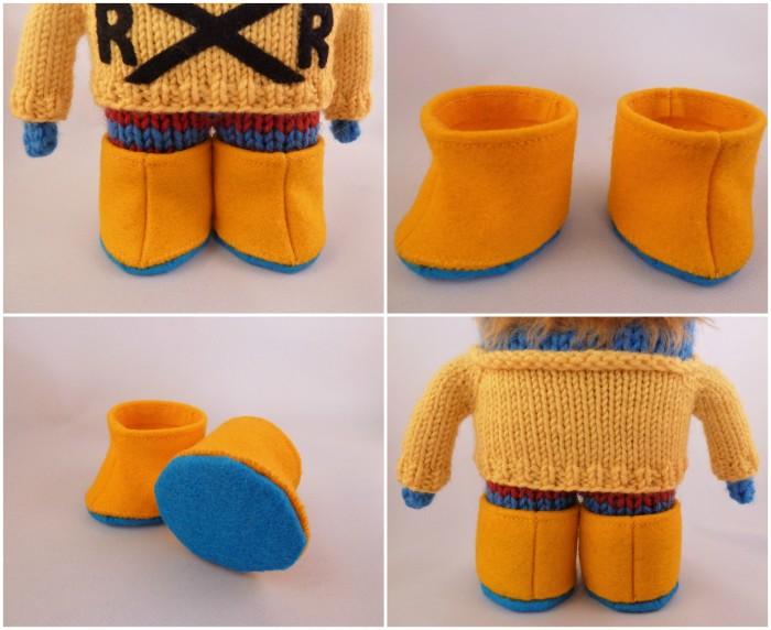 Yellow Beastie Wellies -Miniature Felt Boots by CrawCrafts Beasties