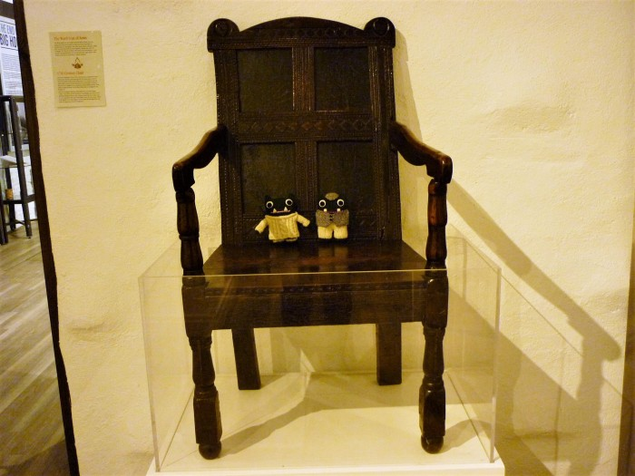 Wooden Chair, 17th Century. Also pictured, 21st Century Beasties. H Crawford/CrawCrafts Beasties