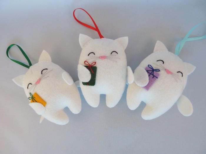 White Cat Tree Ornaments - CrawCrafts Beasties