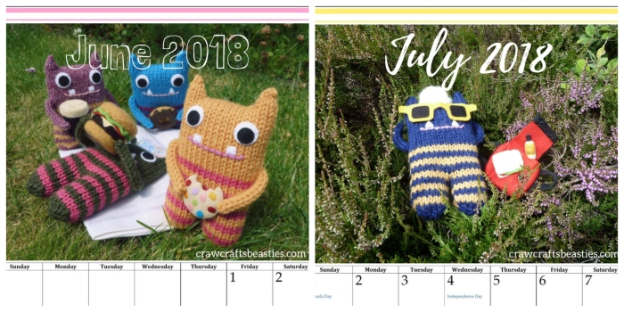 June and July Calendars - Download from Beastie HQ