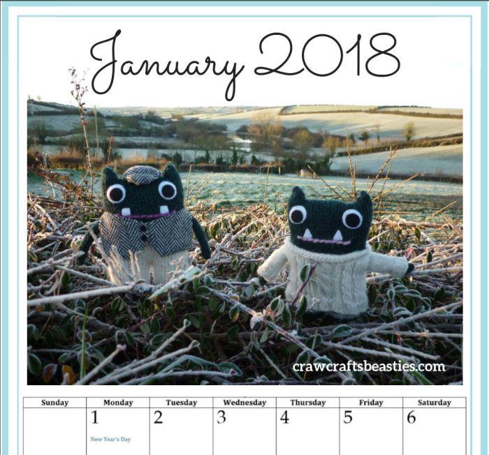 Calendar Page January - Paddy and Plunkett - Printable - CrawCrafts Beasties