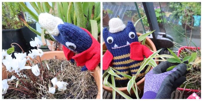 Weeding the Balcony Garden - CrawCrafts Beasties