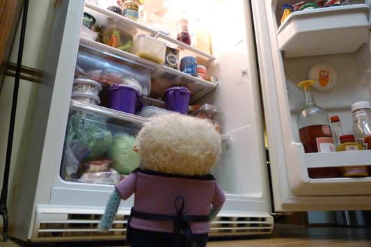 June Beastie raids the fridge - R Crawford/CrawCrafts Beasties