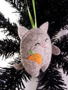 Orange Gift on Tree - Cat Tree Ornament by CrawCrafts Beasties