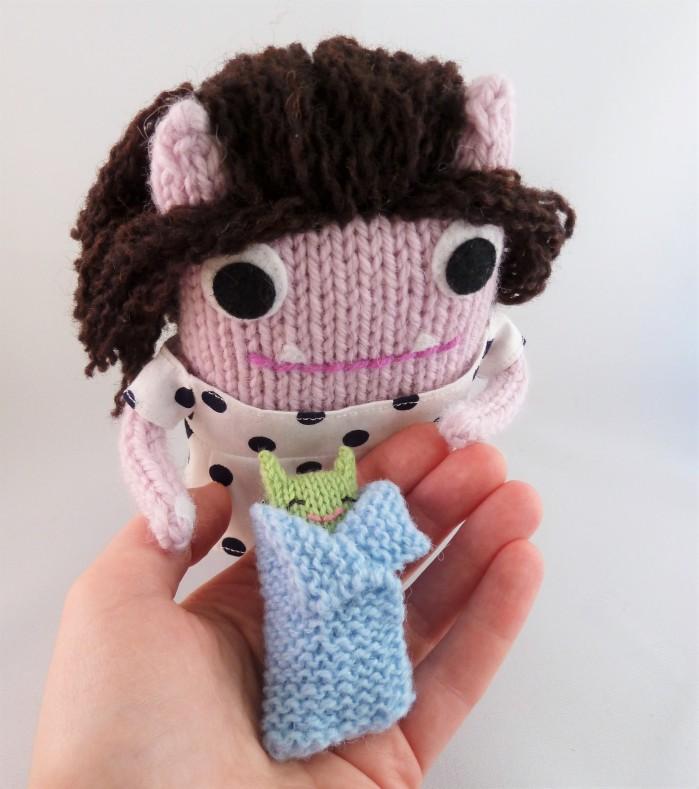 Handing Baby Beastie back to Mum - CrawCrafts Beasties