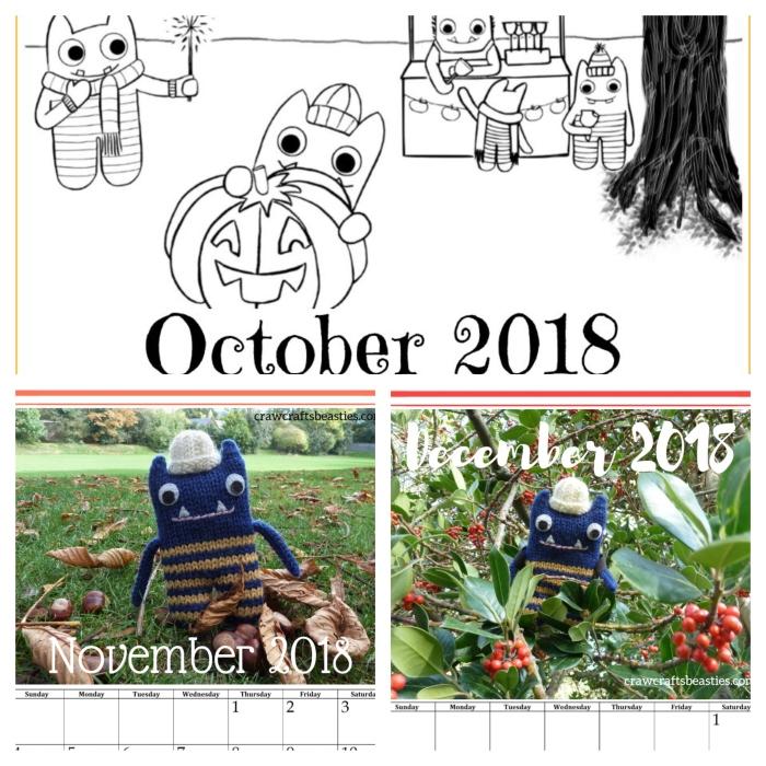 Calendar October to December - CrawCrafts Beasties