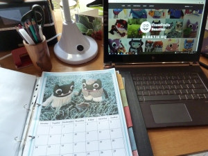 Beastie Calendar, hard at work! CrawCrafts Beasties