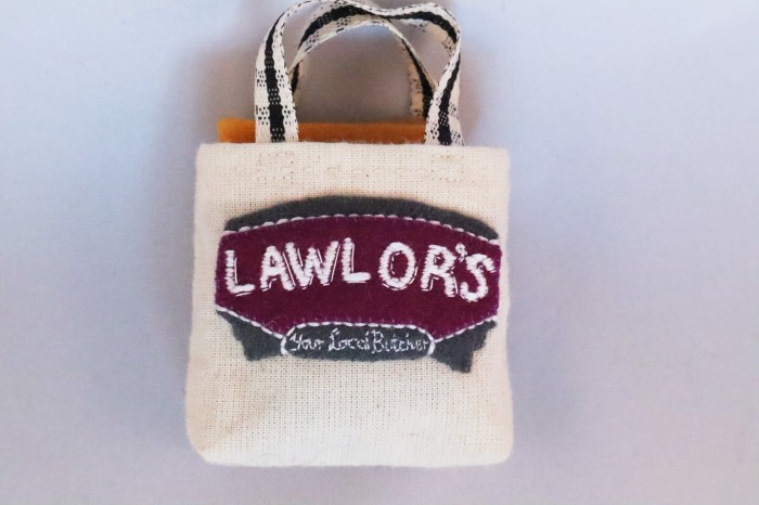Hand-embroidered Lawlor's Butchers Bag - CrawCrafts Beasties