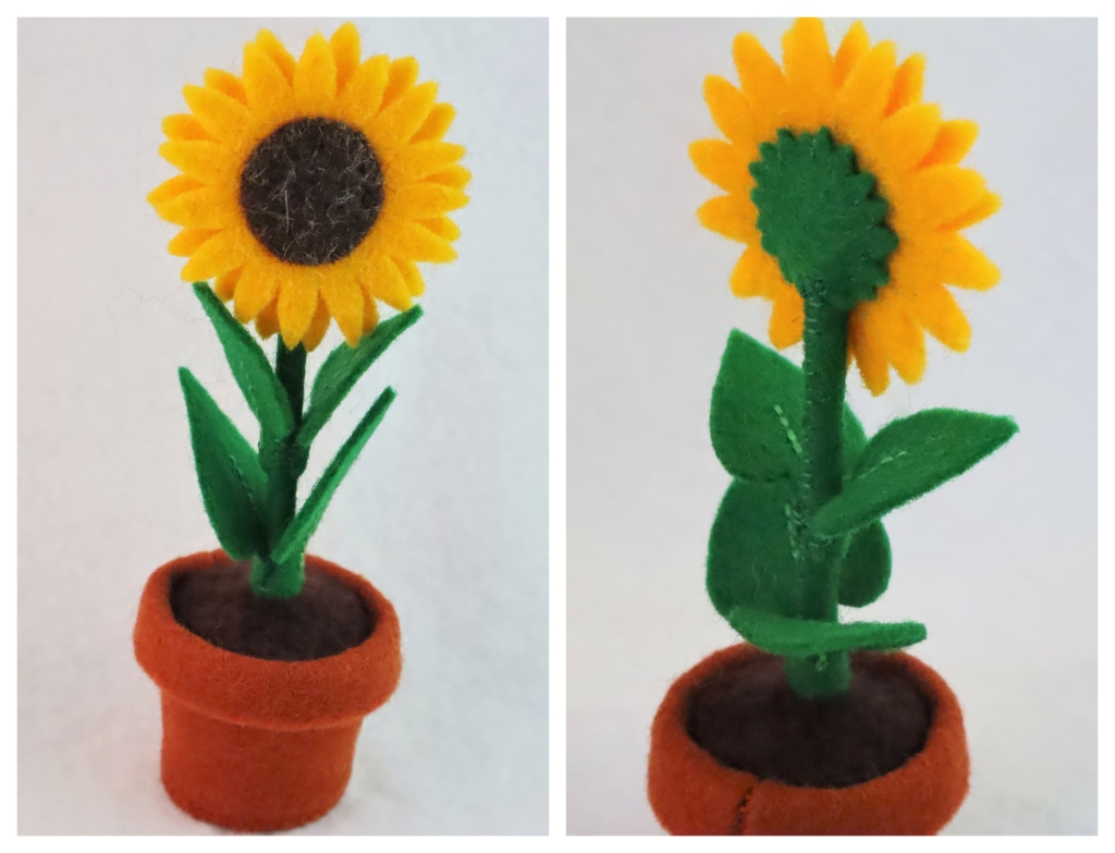 A Beastie-sized Sunflower with Felt Leaves, Petals and Pot - CrawCrafts Beasties